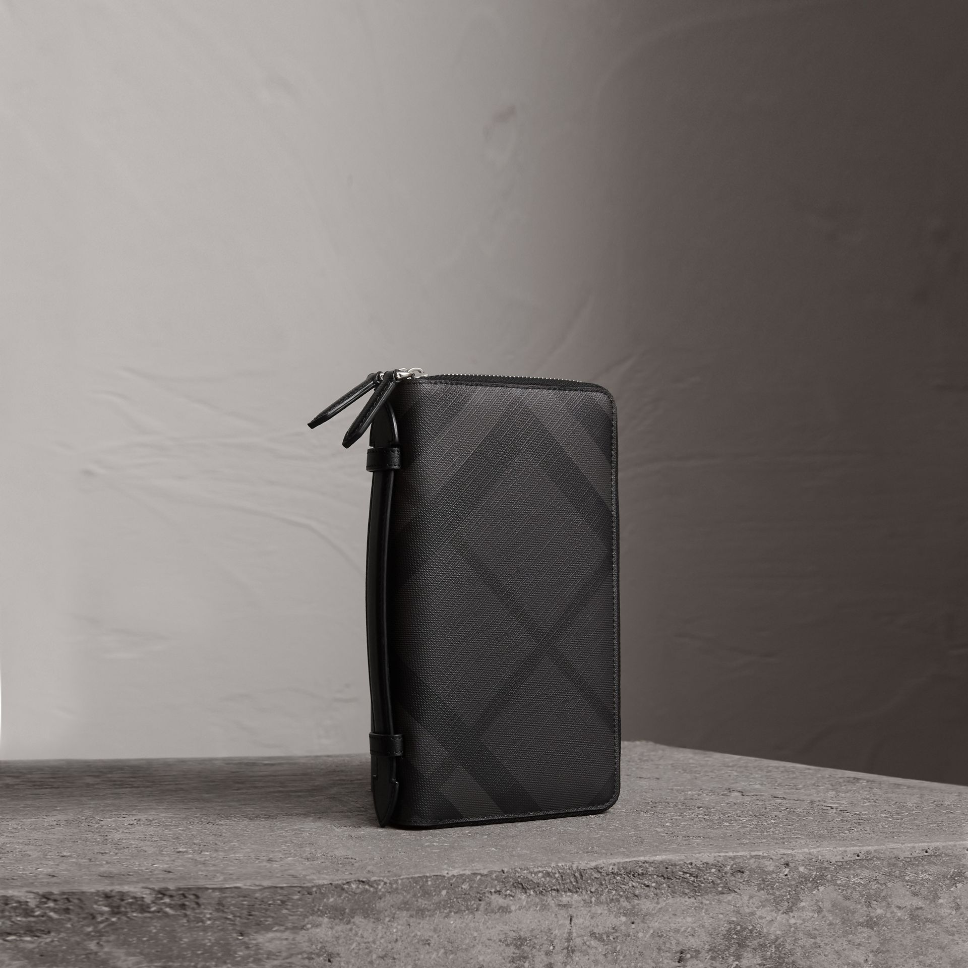 London Check Travel Wallet in Charcoal/black - Men | Burberry Canada - gallery image 0