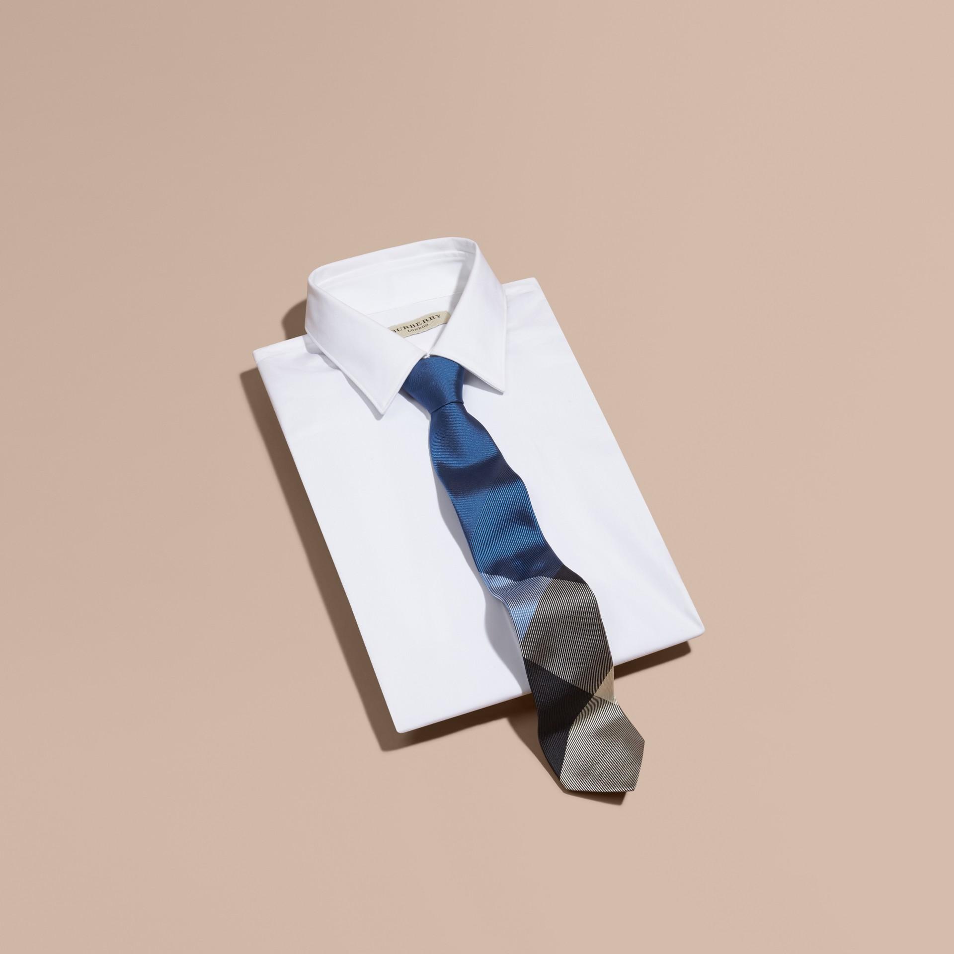 Hydrangea blue Modern Cut Check Jacquard Silk Tie Hydrangea Blue - gallery image 3