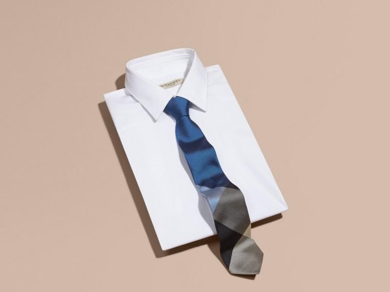 Hydrangea blue Modern Cut Check Jacquard Silk Tie Hydrangea Blue - cell image 2