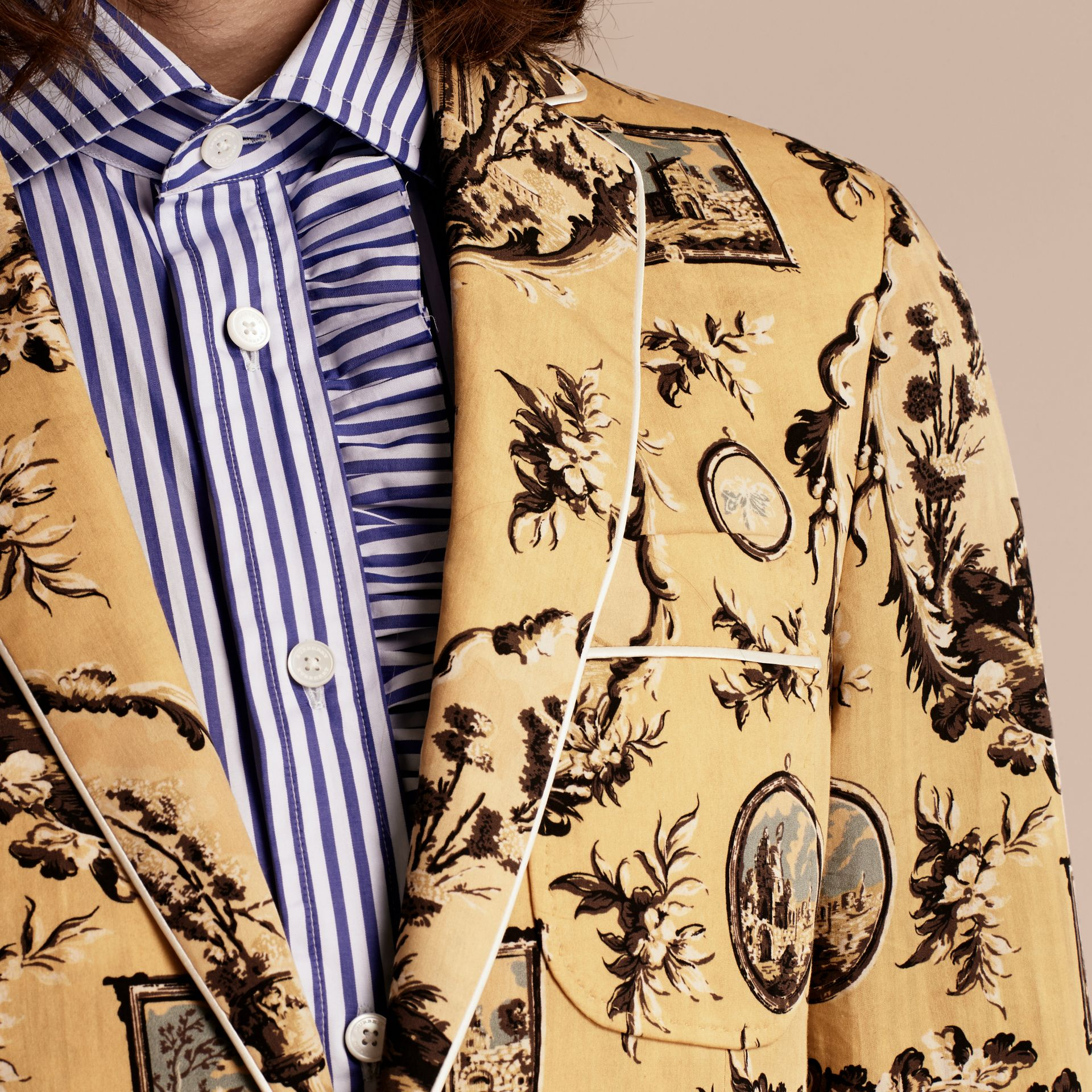 Yellow barley Wallpaper Print Cotton Silk Tailored Jacket - gallery image 4