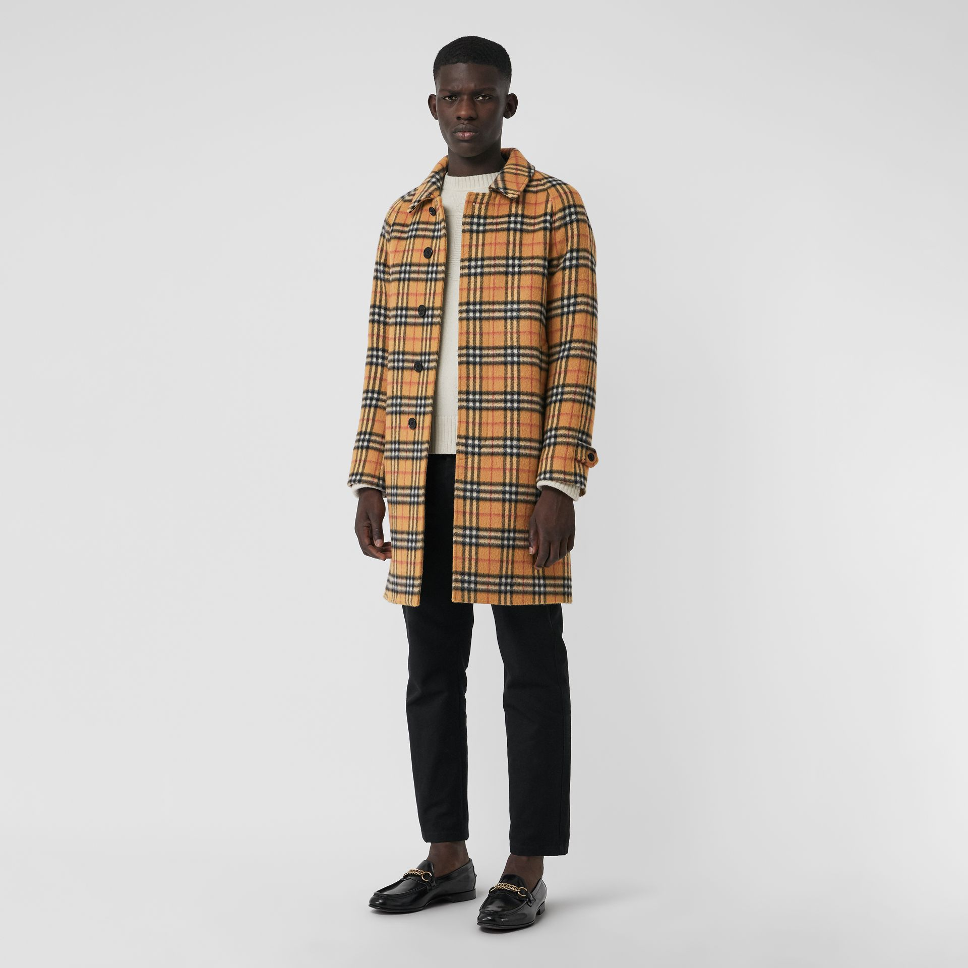 Vintage Check Alpaca Wool Car Coat in Antique Yellow - Men | Burberry Canada - gallery image 0