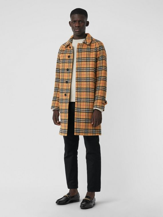 Vintage Check Alpaca Wool Car Coat in Antique Yellow