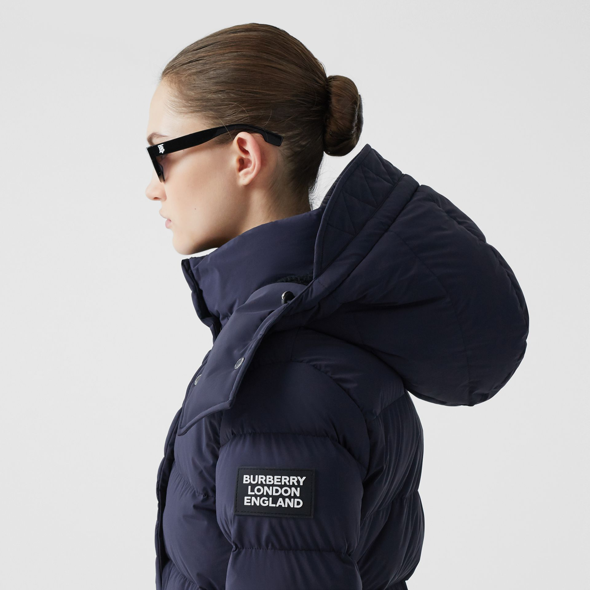 Detachable Hood Belted Puffer Coat in Navy - Women | Burberry Hong Kong S.A.R - gallery image 5