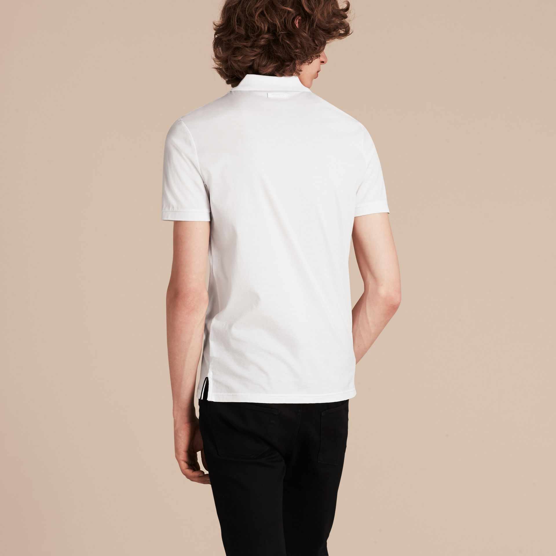 White Regimental Cotton Polo Shirt White - gallery image 3