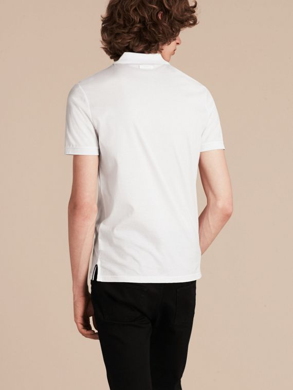 White Regimental Cotton Polo Shirt White - cell image 2