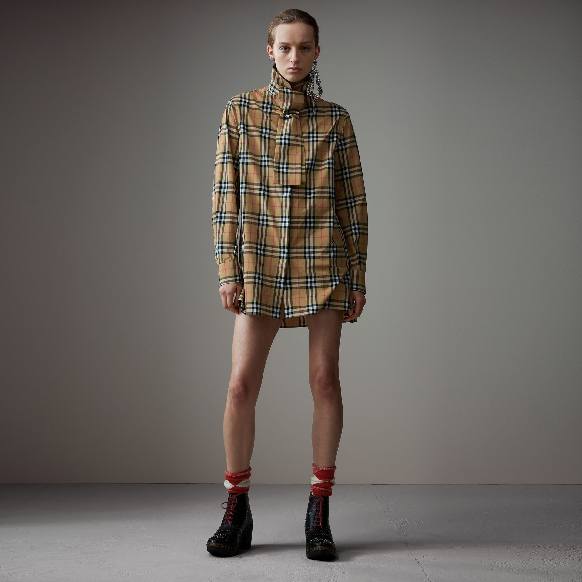 Vintage Check Cotton Tie-neck Riding Shirt in Antique Yellow - Women | Burberry - gallery image 0