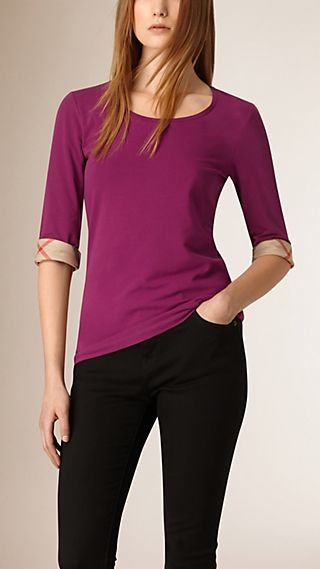 Check Cuff Stretch Cotton Top