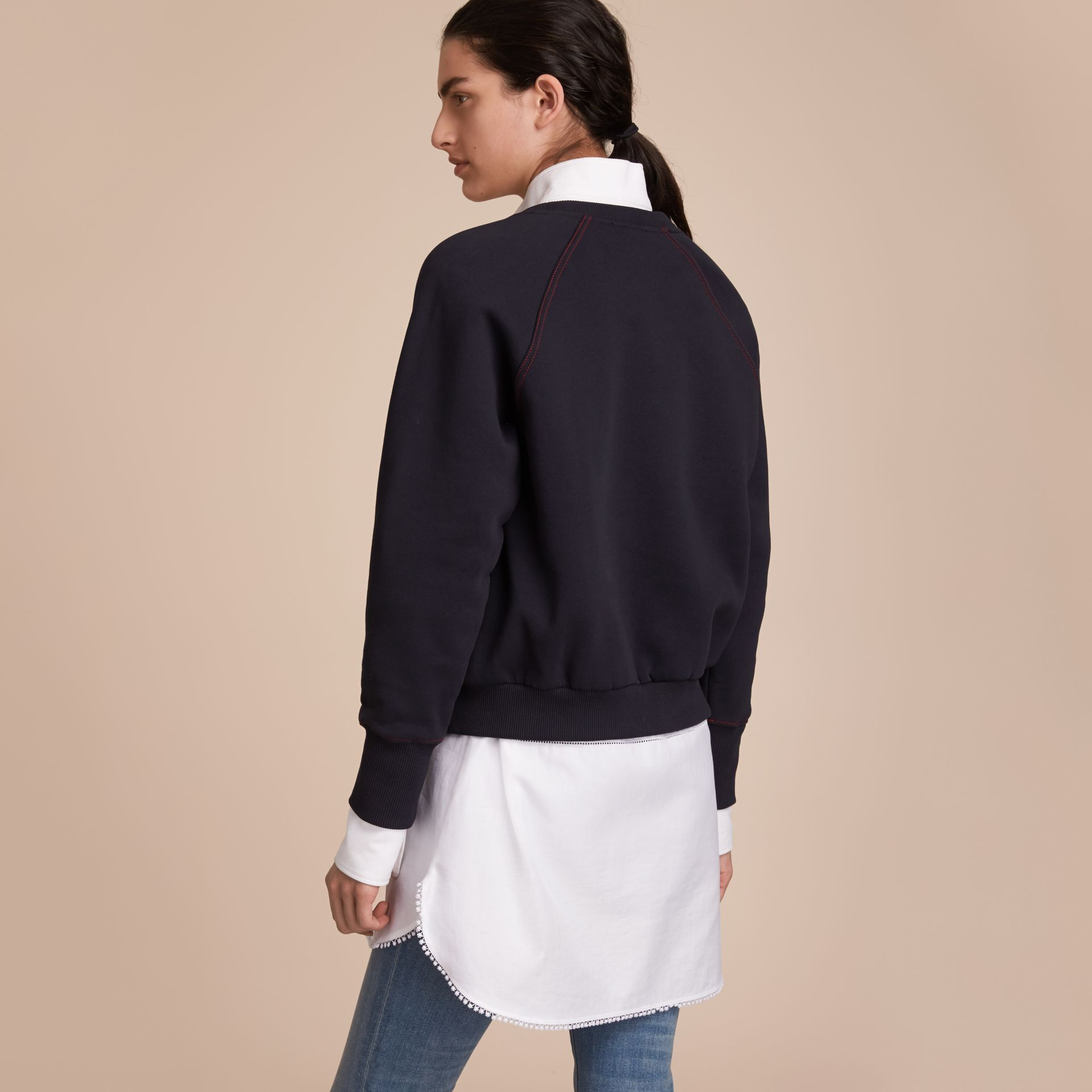 Embroidered Cotton Blend Jersey Sweatshirt in Navy - gallery image 3
