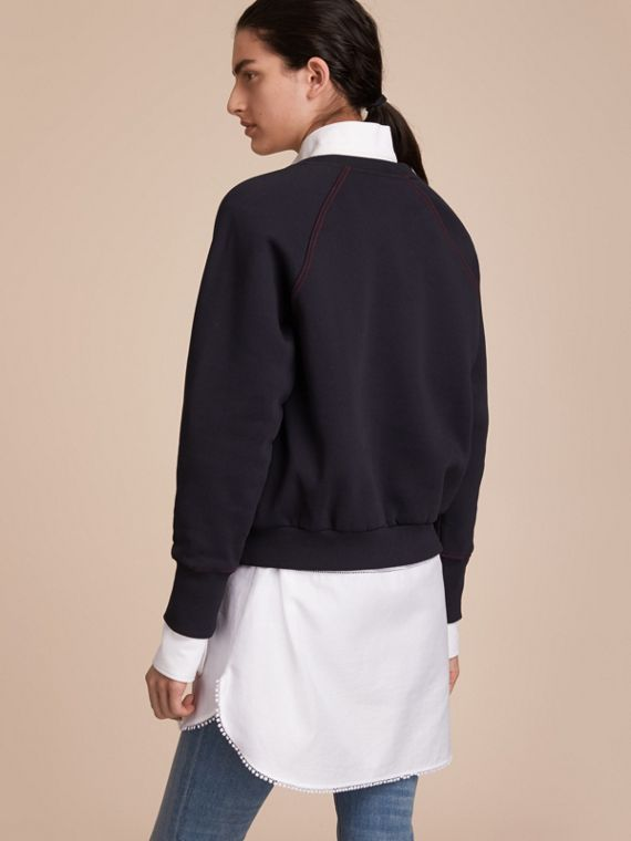 Embroidered Cotton Blend Jersey Sweatshirt in Navy - Women | Burberry Hong Kong - cell image 2