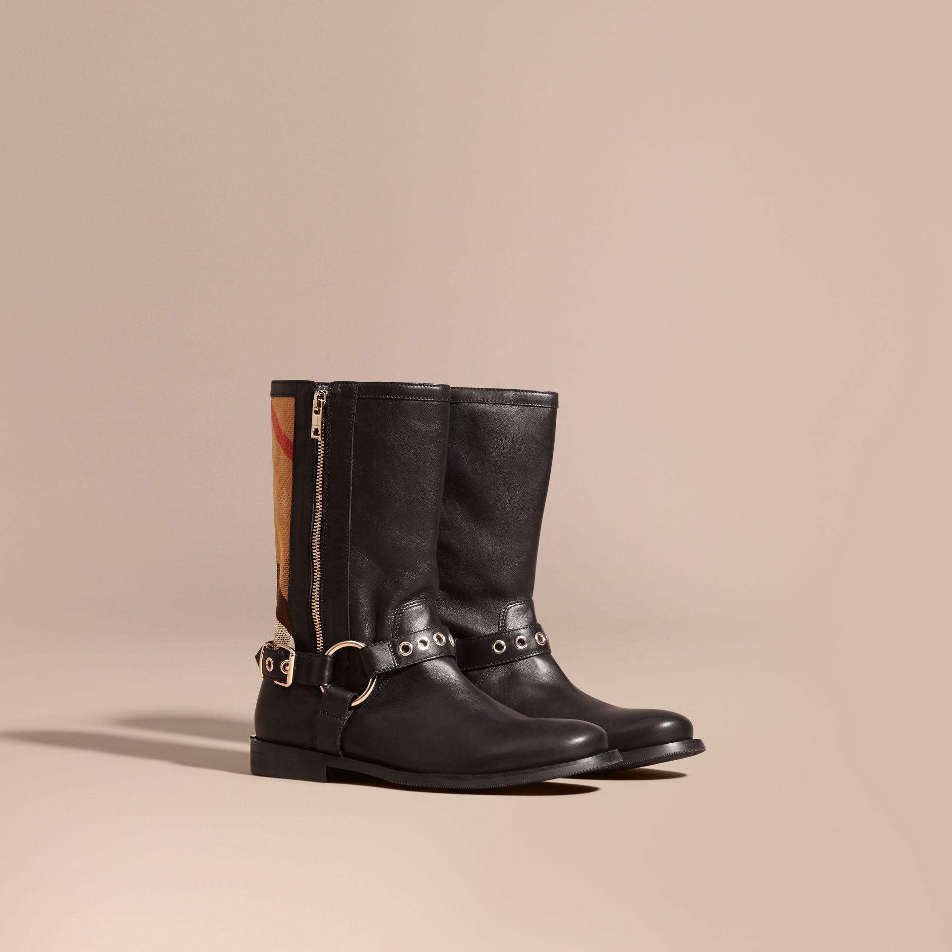 Black Buckle Detail Leather and Canvas Check Boots - gallery image 1