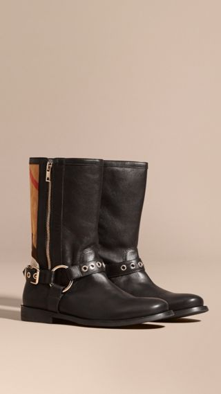 Buckle Detail Leather and Canvas Check Boots