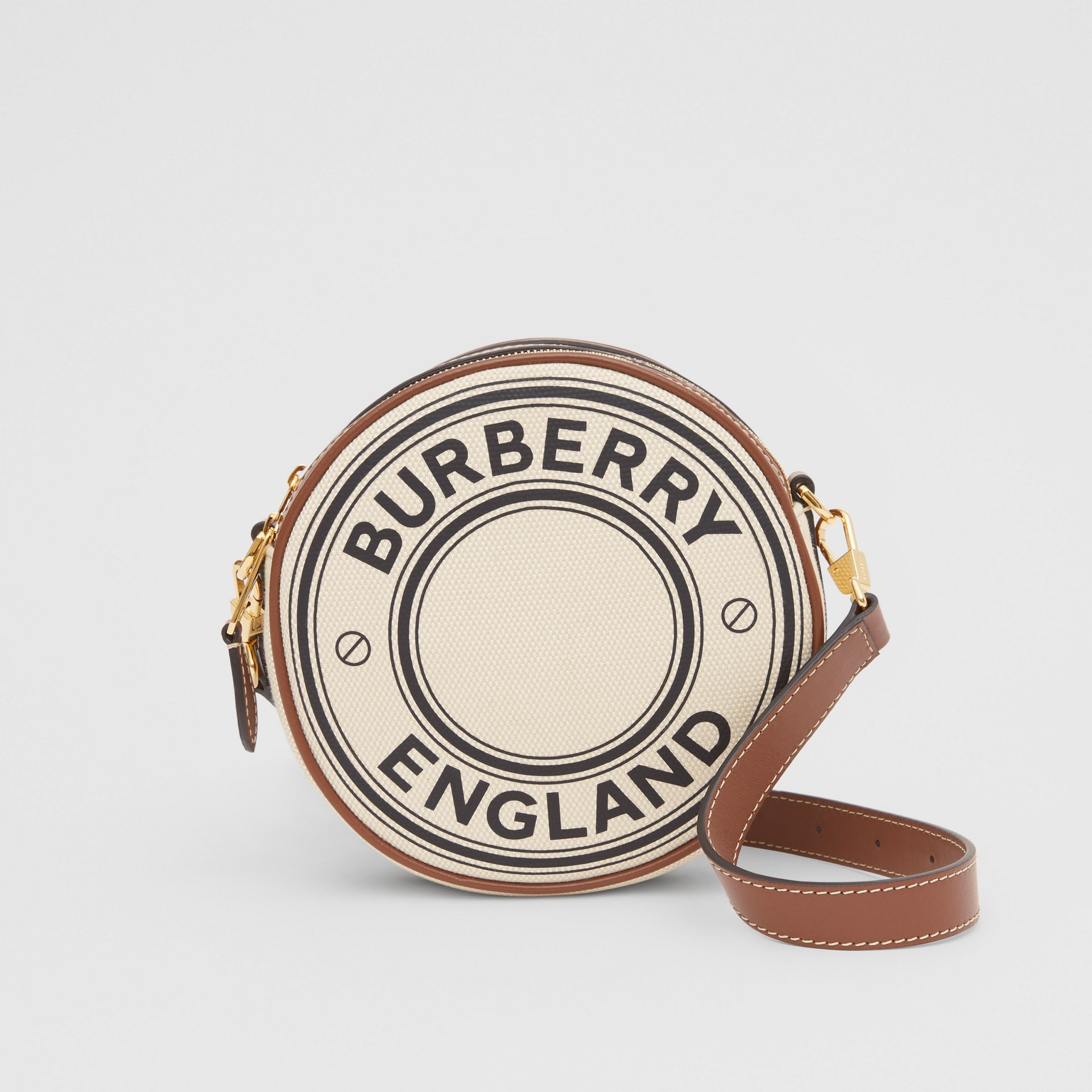 Logo Graphic Canvas and Leather Louise Bag in Natural - Women | Burberry United States - gallery image 0