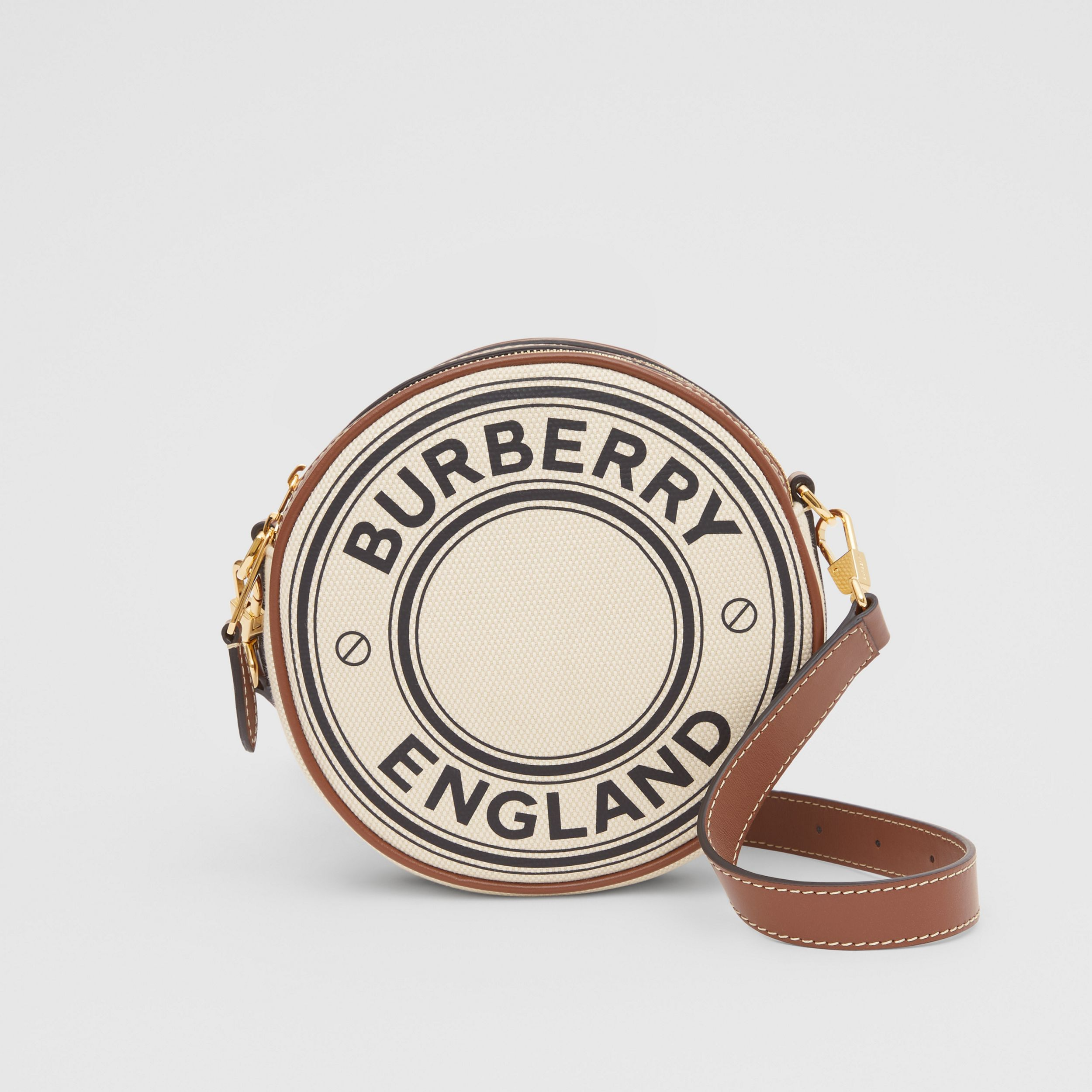 Logo Graphic Canvas and Leather Louise Bag in Natural - Women | Burberry - 1