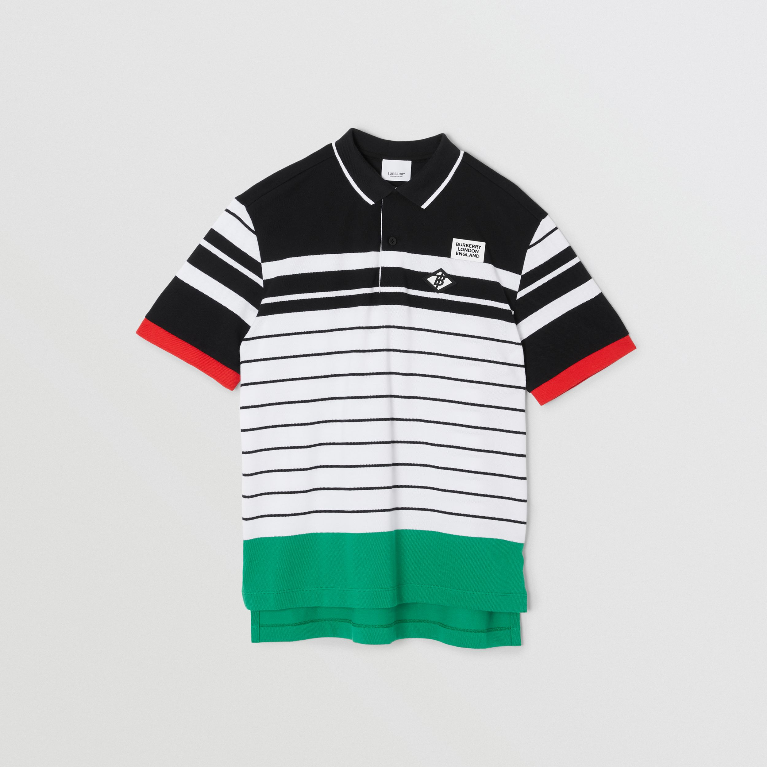 Logo Graphic Striped Cotton Piqué Polo Shirt in Multicolour | Burberry - 1