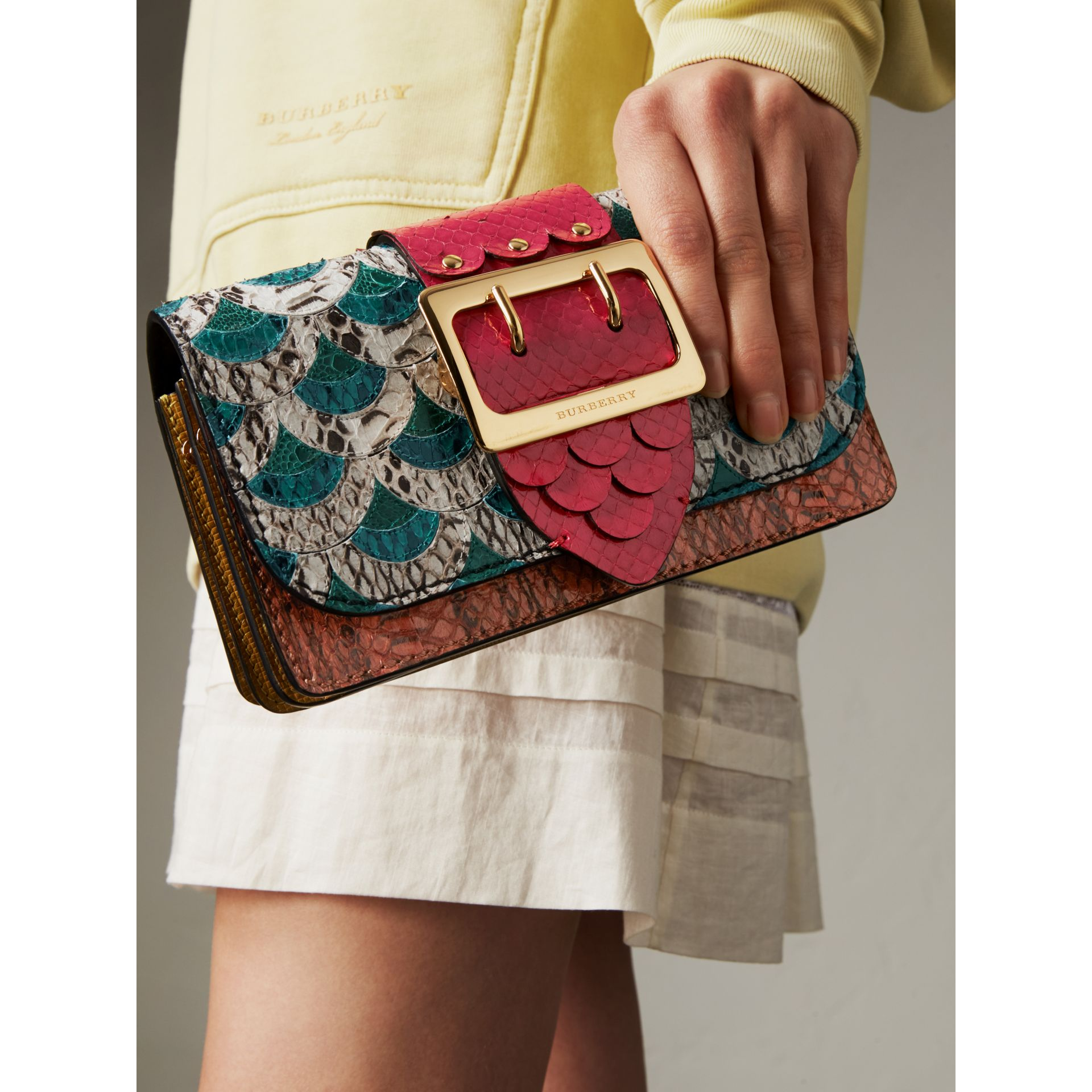 The Small Buckle Bag in Scallop Trim Snakeskin and Ostrich - Women | Burberry - gallery image 9