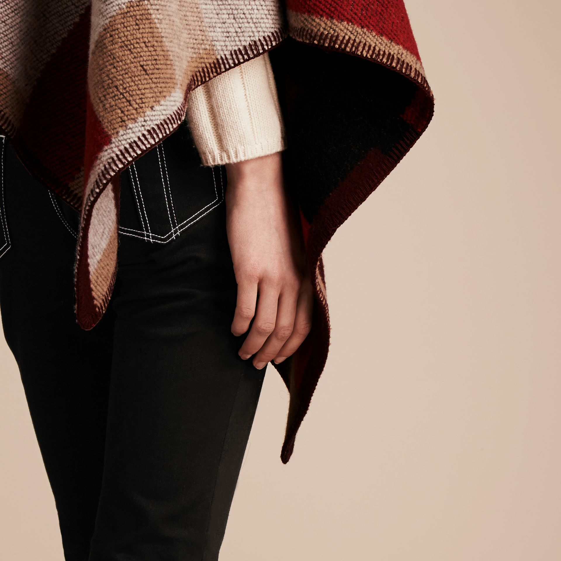 Camel Check Wool Cashmere Poncho - gallery image 7