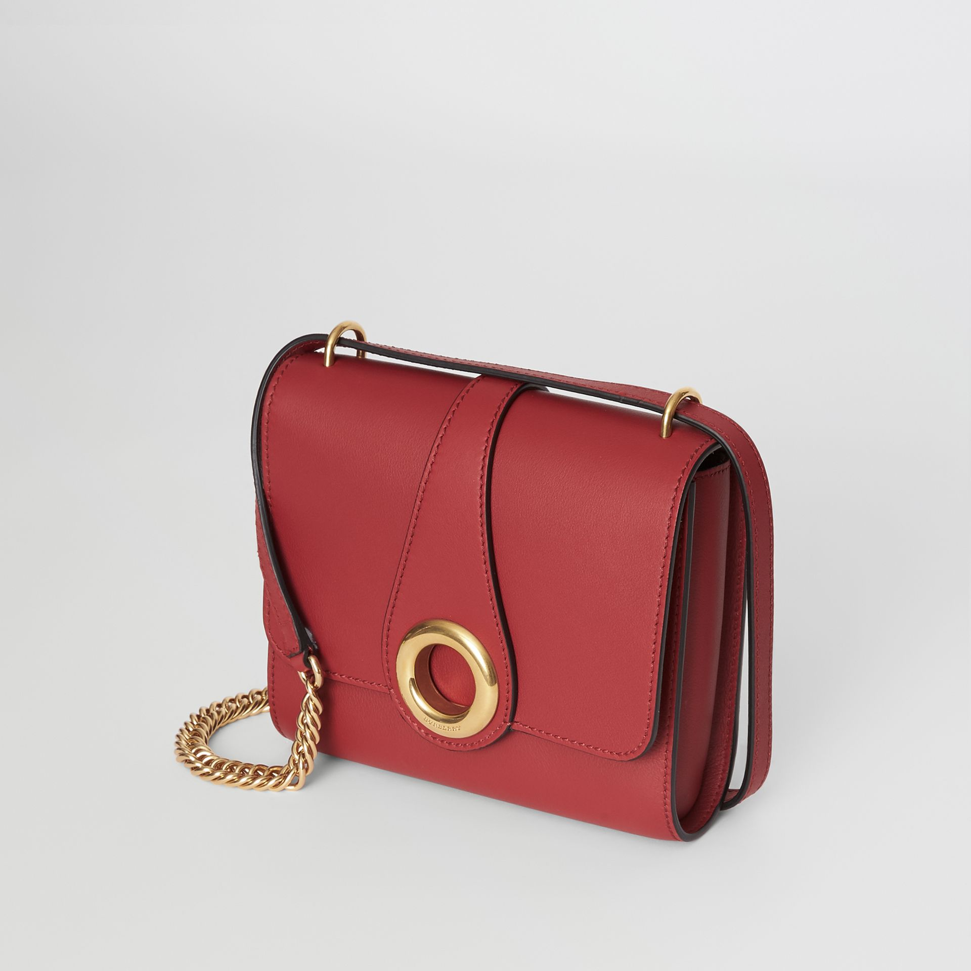 The Leather Grommet Detail Crossbody Bag in Crimson - Women | Burberry United Kingdom - gallery image 4