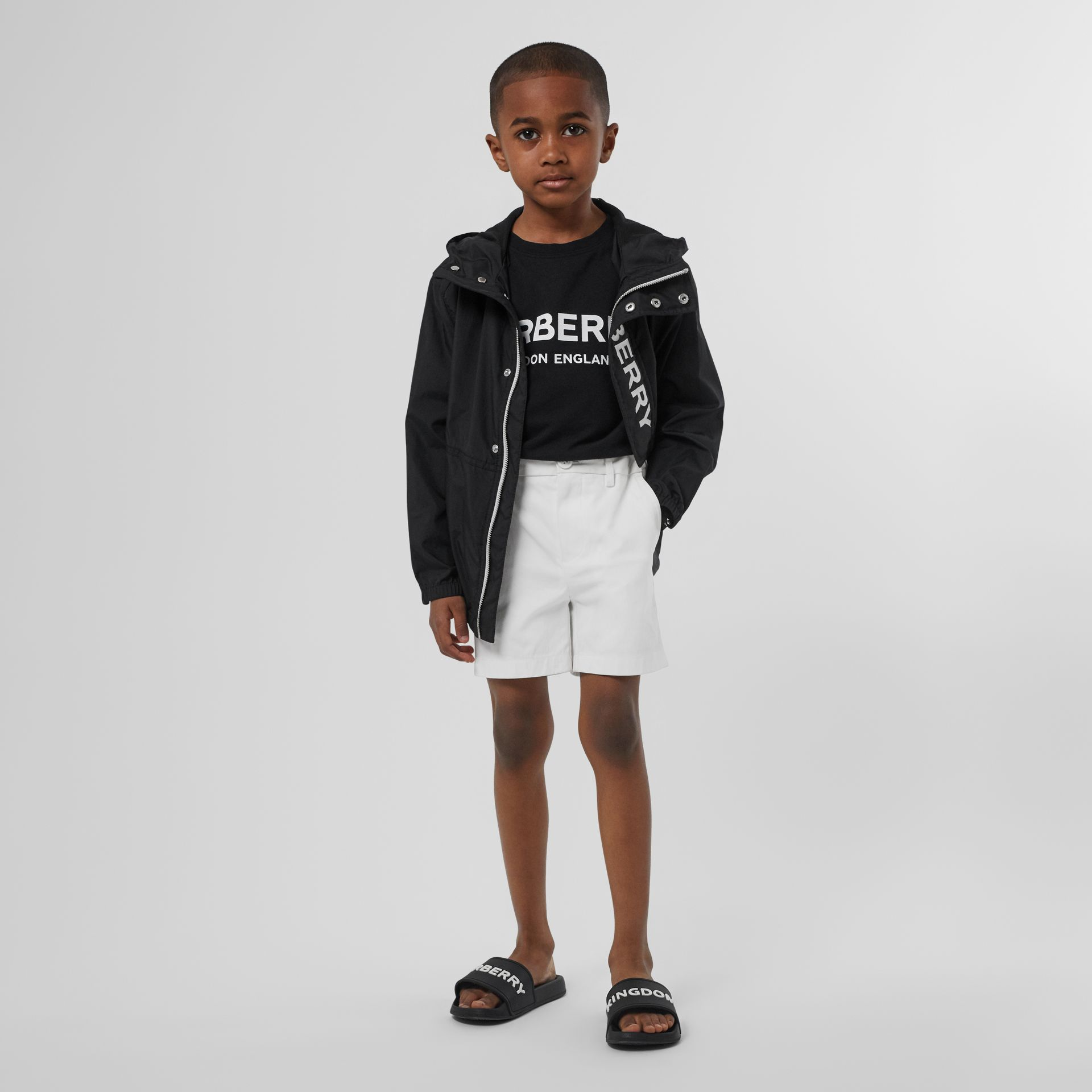 Cotton Chino Shorts in Optic White - Children | Burberry - gallery image 2