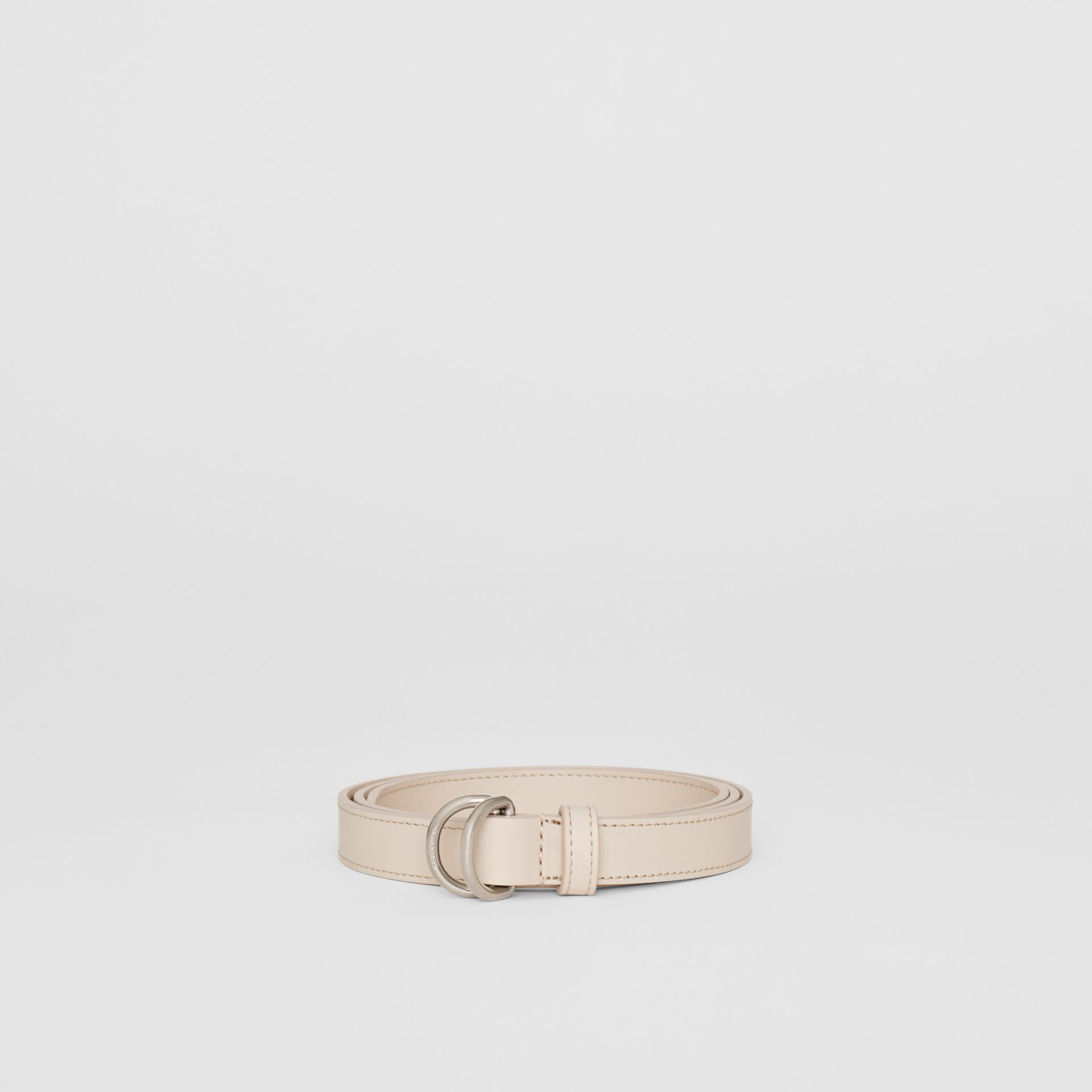 Slim Leather Double D-ring Belt in Limestone - Women | Burberry - gallery image 3
