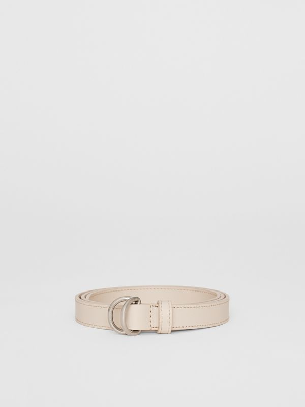 Slim Leather Double D-ring Belt in Limestone - Women | Burberry - cell image 3
