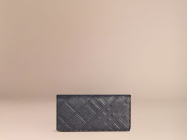 Dark pewter blue Embossed Check Leather Continental Wallet Dark Pewter Blue - cell image 4
