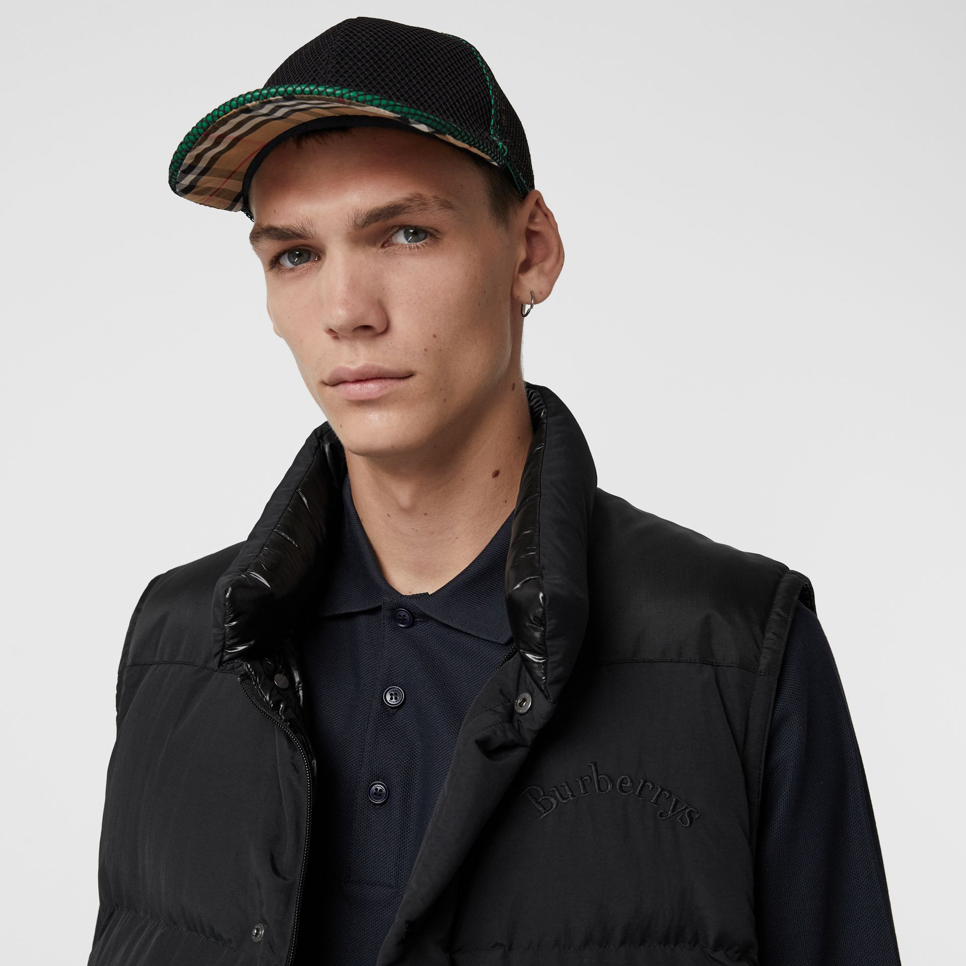 Vintage Check and Mesh Baseball Cap in Black | Burberry Canada - gallery image 3