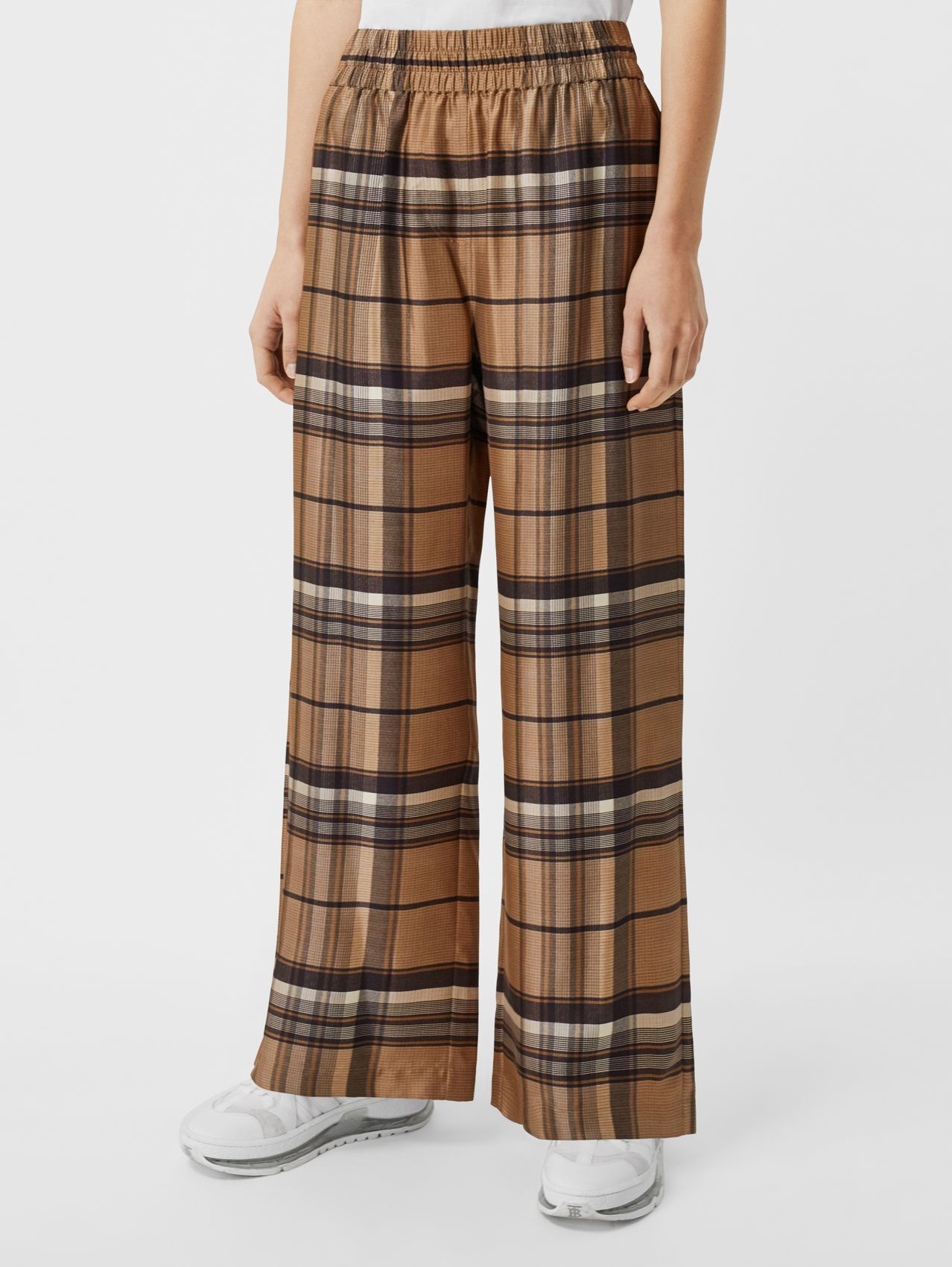 Check Print Silk Twill Wide-leg Trousers in Dark Tan