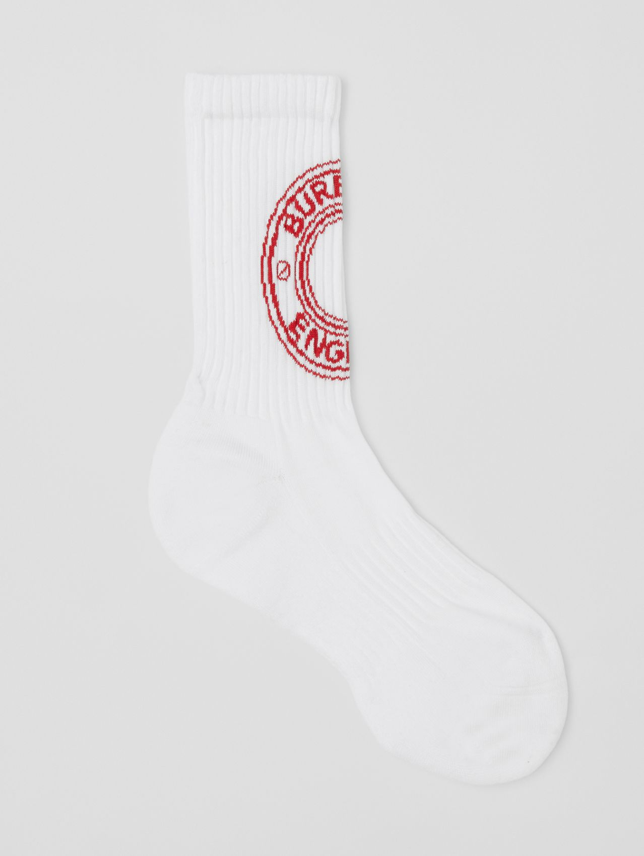 Logo Graphic Intarsia Technical Stretch Cotton Socks in White/red