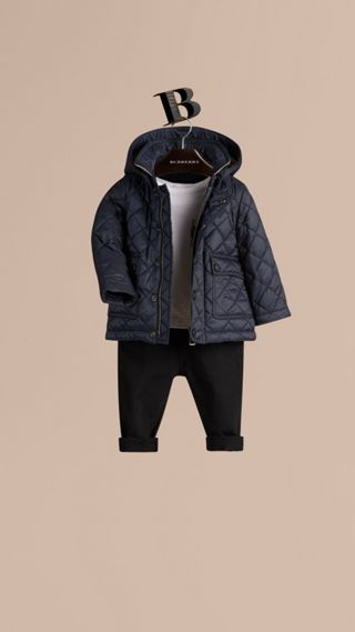Check Detail Diamond-quilted Jacket