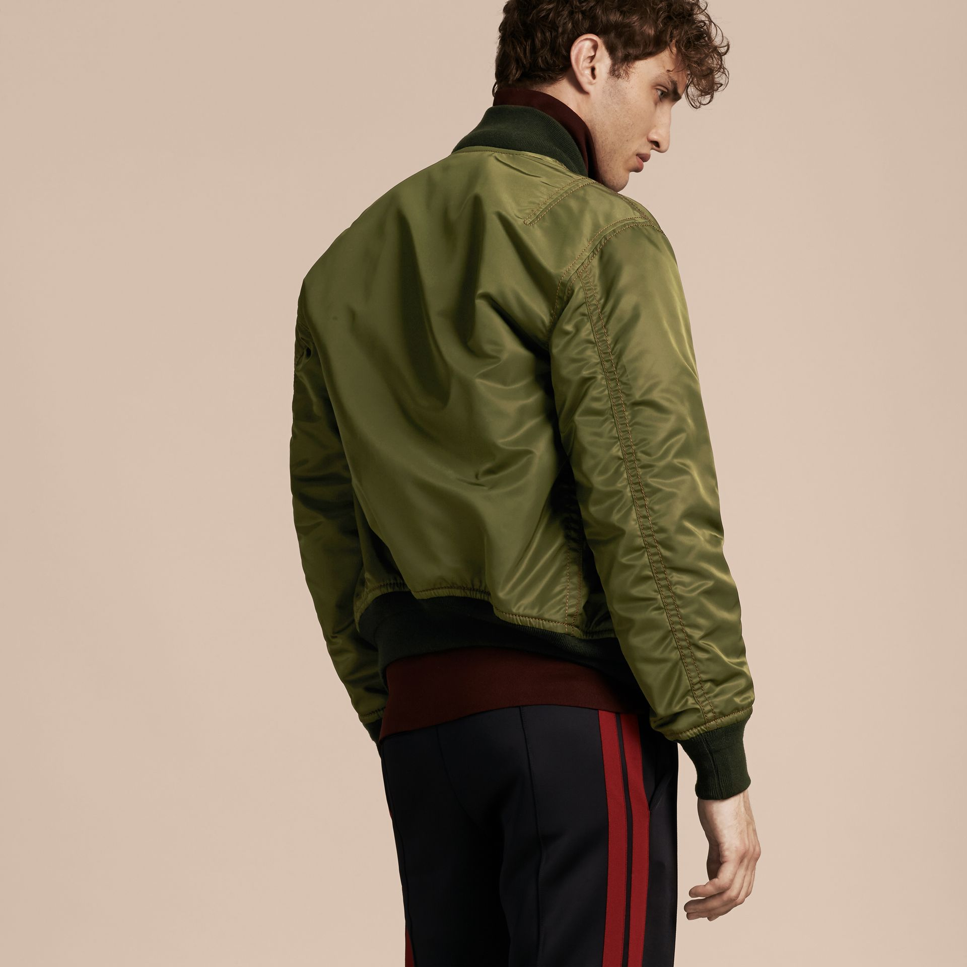 Light military green Oversize Bomber Jacket - gallery image 3
