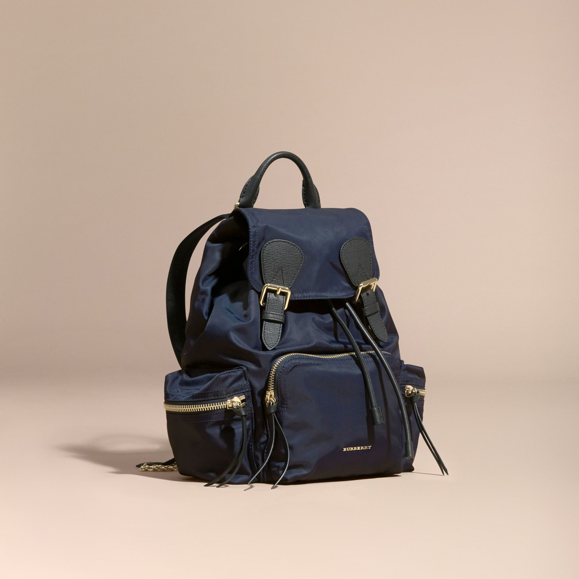 The Medium Rucksack in Technical Nylon and Leather Ink Blue - gallery image 1