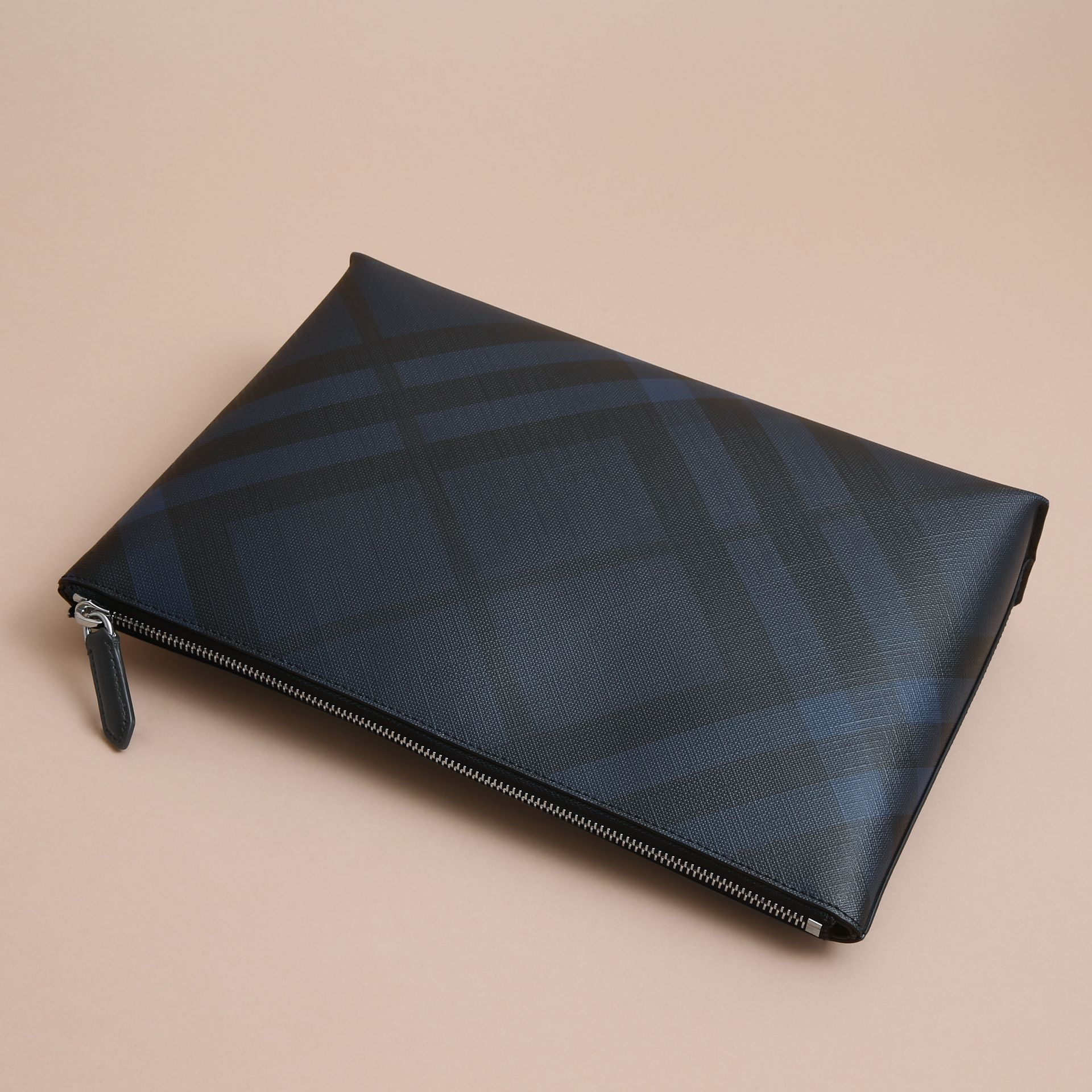 Large London Check Zip Pouch in Navy/black - Men | Burberry - gallery image 4