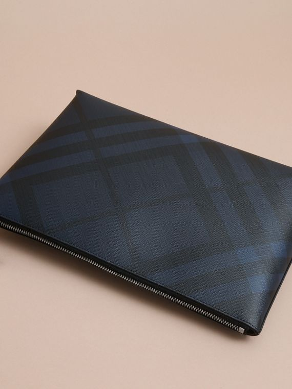 Large London Check Zip Pouch in Navy/black - Men | Burberry - cell image 3