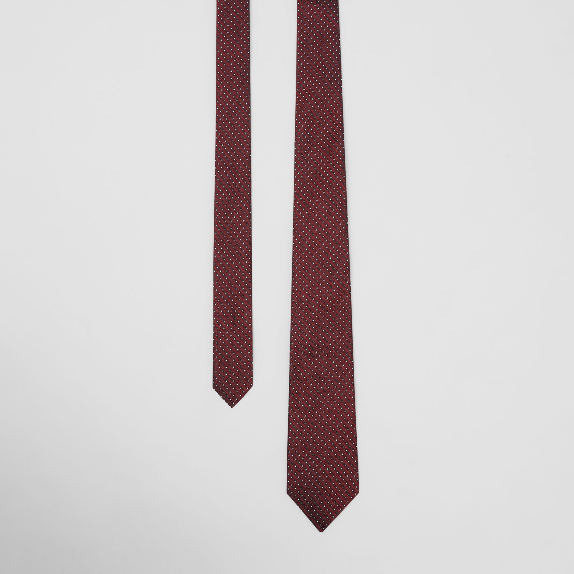 Classic Cut Micro Dot Silk Jacquard Tie in Oxblood - Men | Burberry - gallery image 0