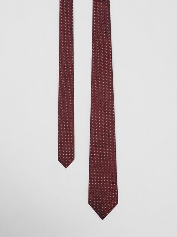 Classic Cut Micro Dot Silk Jacquard Tie in Oxblood