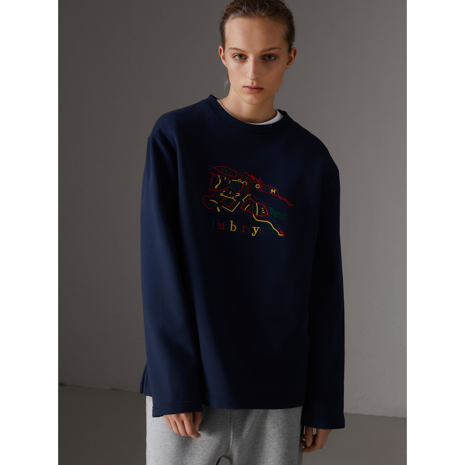 Sweat-shirt en jersey revisité (Bleu Foncé) - Femme | Burberry - photo de la galerie 4