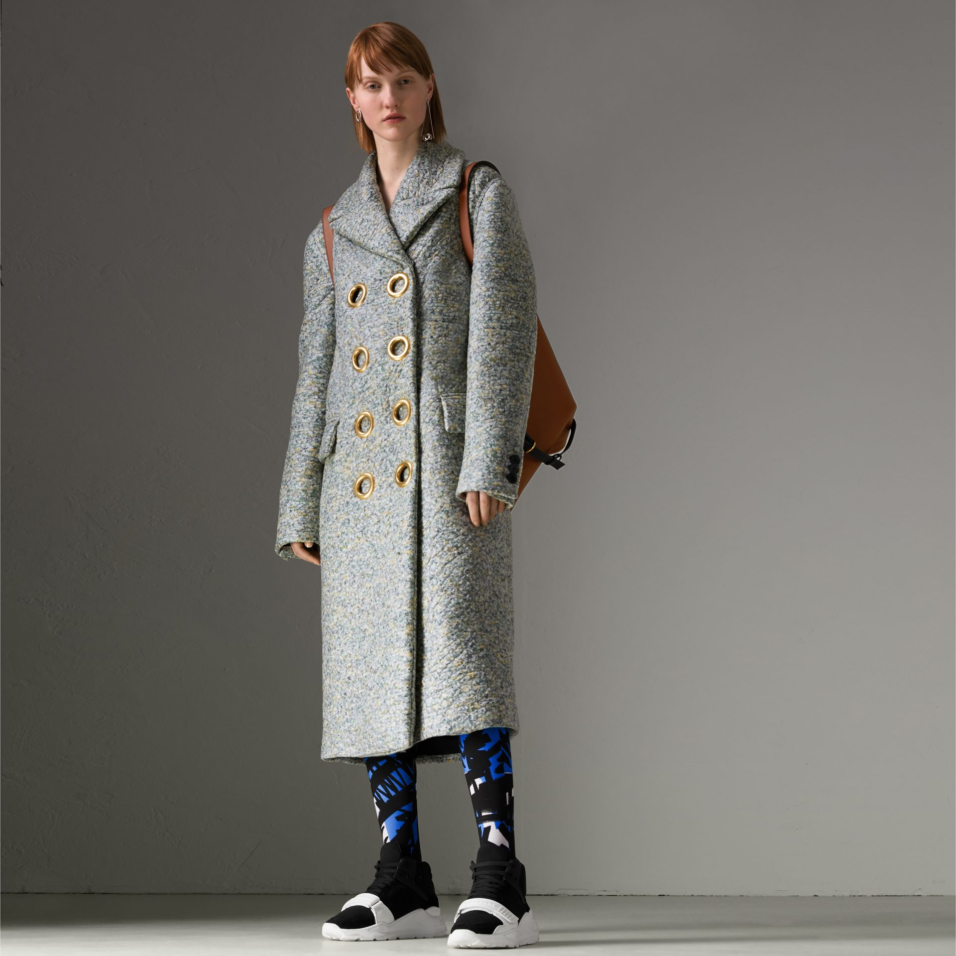 Laminated Cashmere Blend Double-breasted Coat in Olive Melange - Women | Burberry - gallery image 0