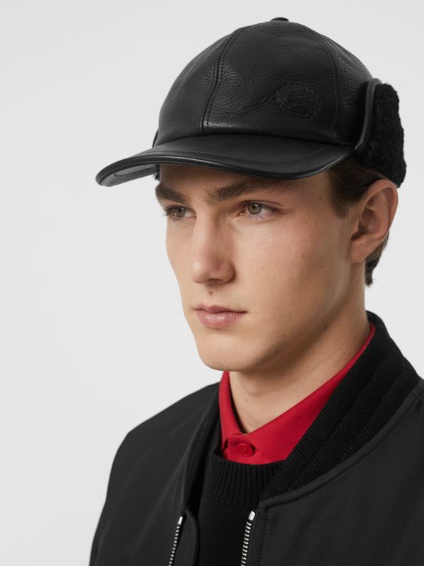 Shearling and Leather Baseball Cap in Black | Burberry Hong Kong - cell image 3