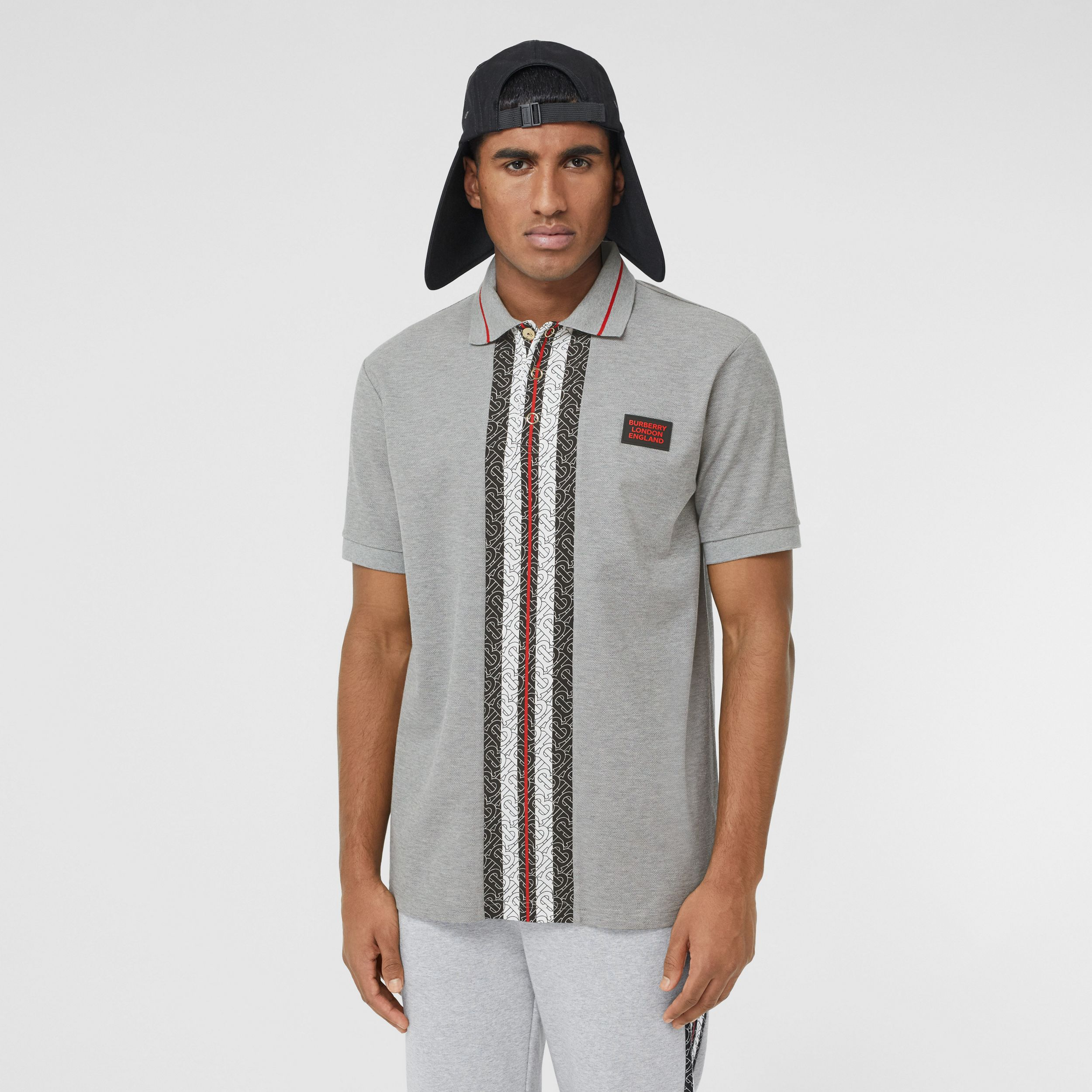 Monogram Stripe Print Cotton Piqué Polo Shirt in Pale Grey Melange - Men | Burberry - 1