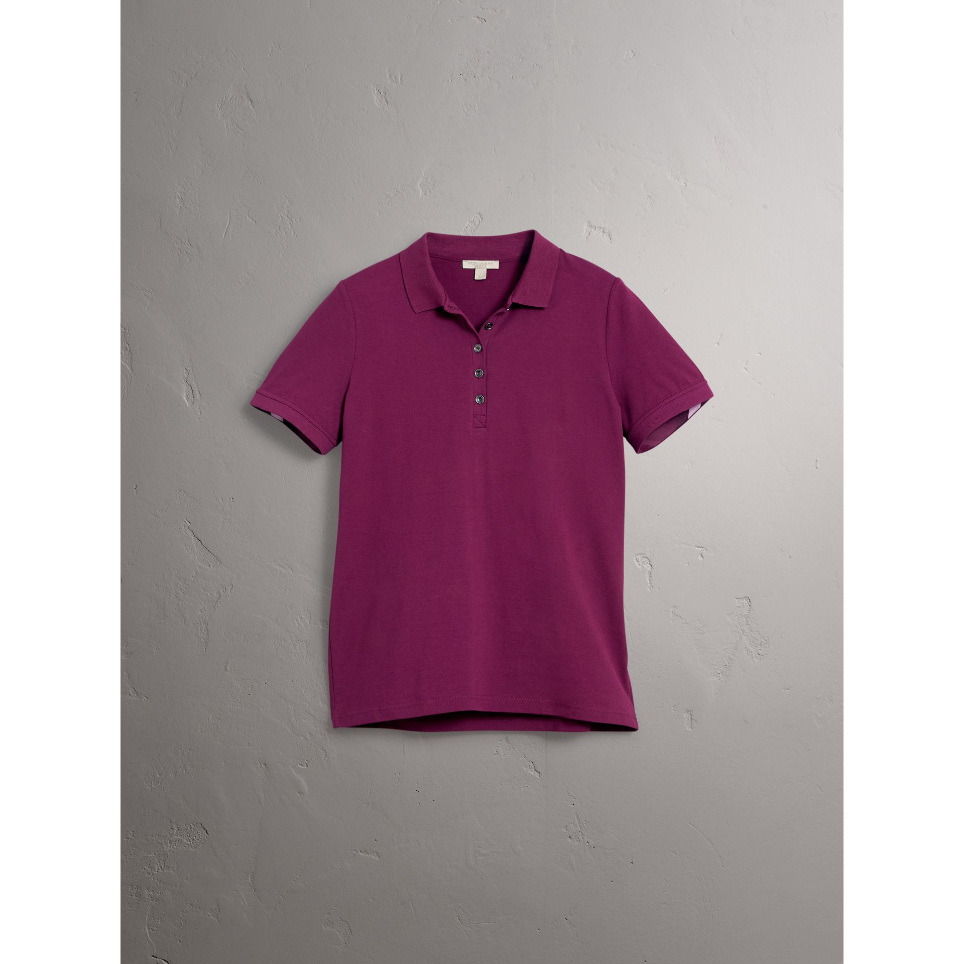 Check Trim Stretch Cotton Piqué Polo Shirt in Magenta Pink - Women | Burberry - gallery image 4