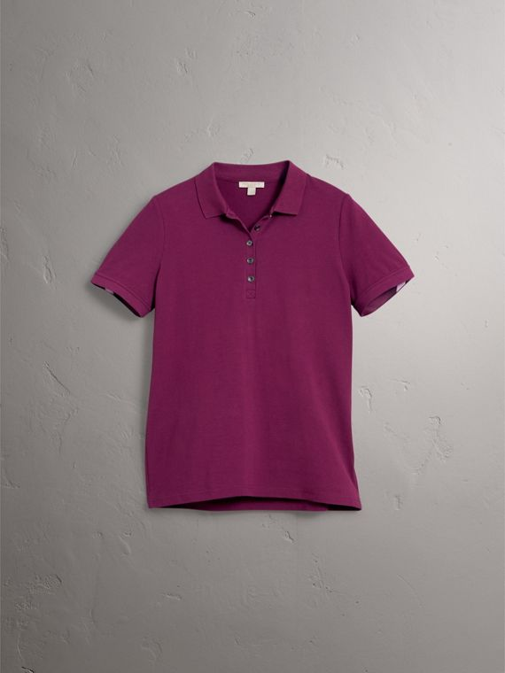 Check Trim Stretch Cotton Piqué Polo Shirt in Magenta Pink - Women | Burberry - cell image 3