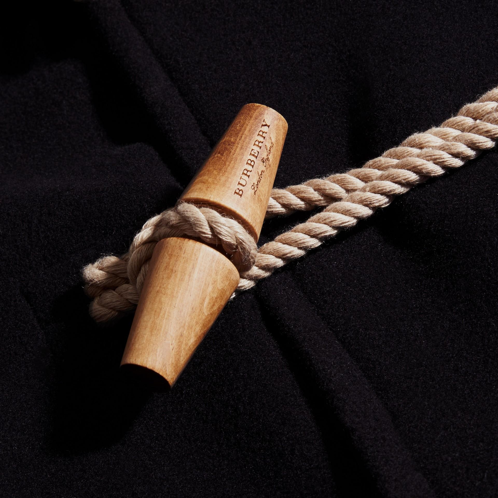 Navy Montgomery in misto di lana doppio con cappuccio - immagine della galleria 2