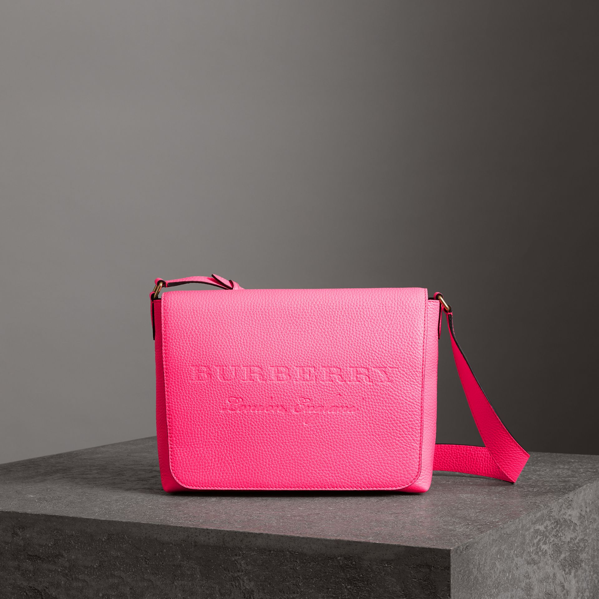 Medium Embossed Leather Messenger Bag in Neon Pink | Burberry United Kingdom - gallery image 0