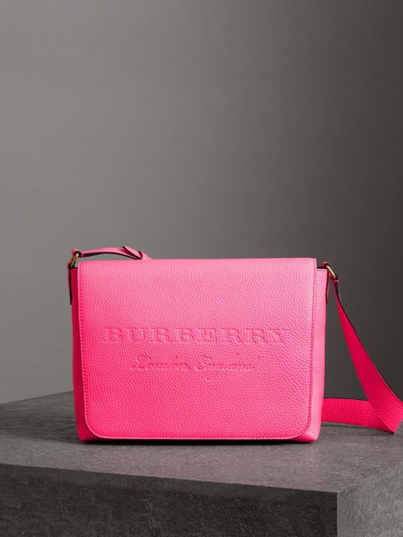 Medium Embossed Leather Messenger Bag in Neon Pink