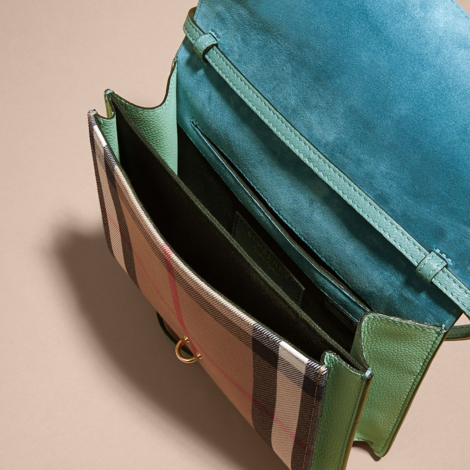 Small Leather and House Check Crossbody Bag Celadon Blue - gallery image 4