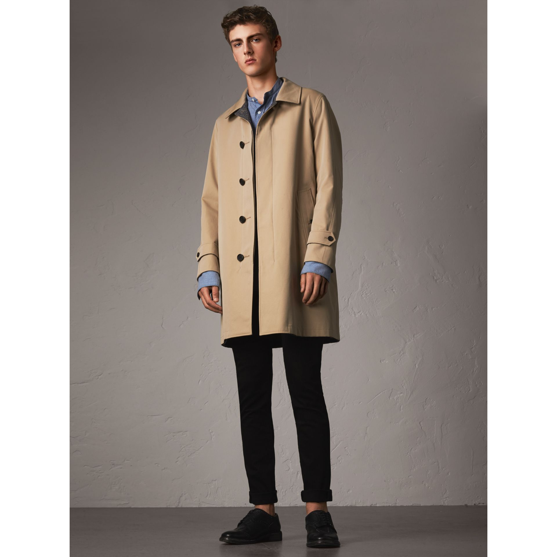 Reversible Gabardine and Donegal Tweed Car Coat in Honey - Men | Burberry - gallery image 6