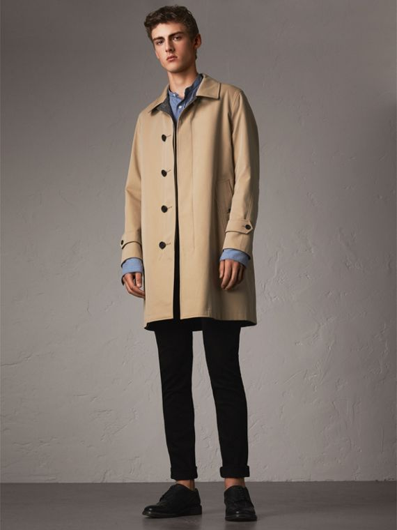 Car coat dupla face de tweed Donegal e gabardine (Mel)