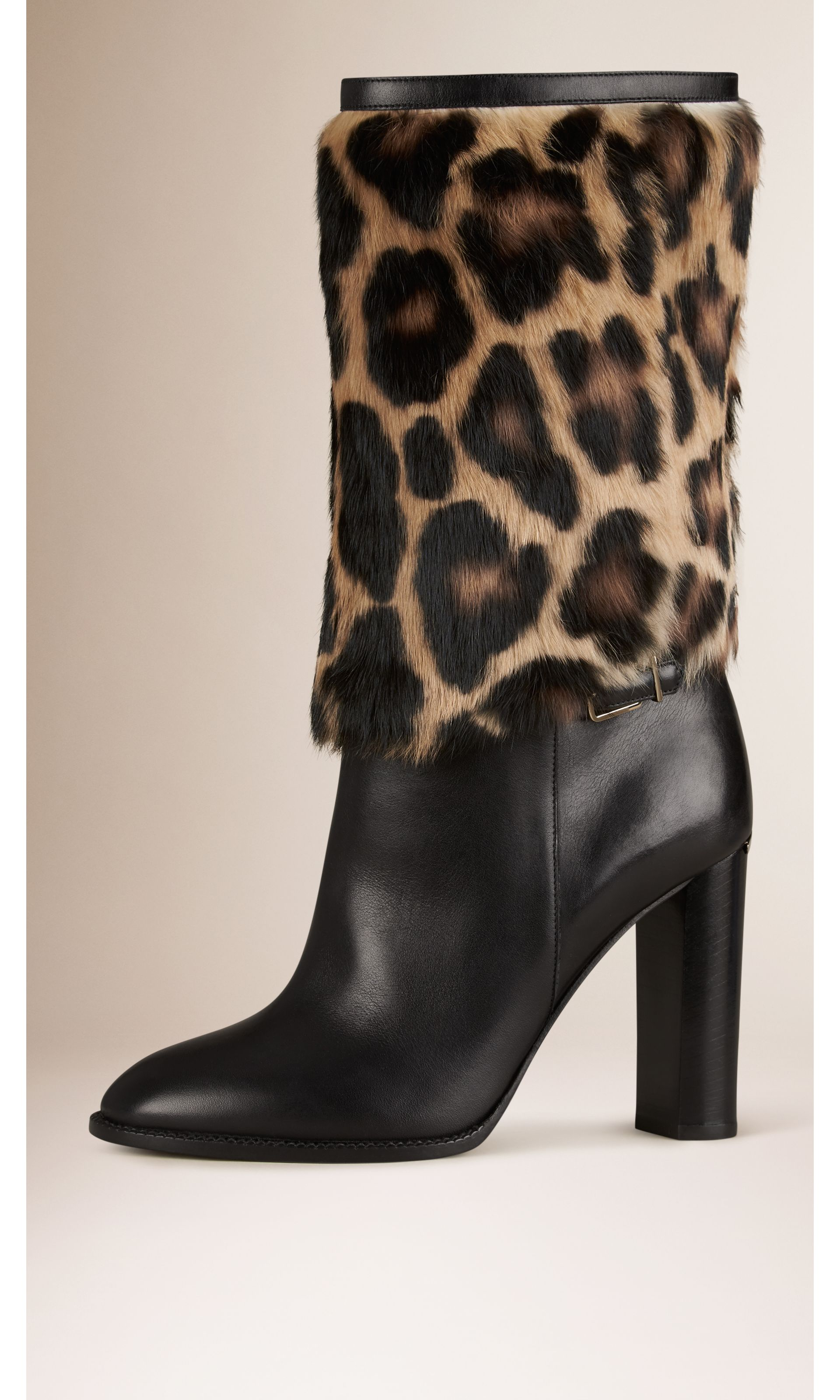 Animal Print Rabbit Fur and Leather Boots in Black - Women | Burberry United States - gallery image 0