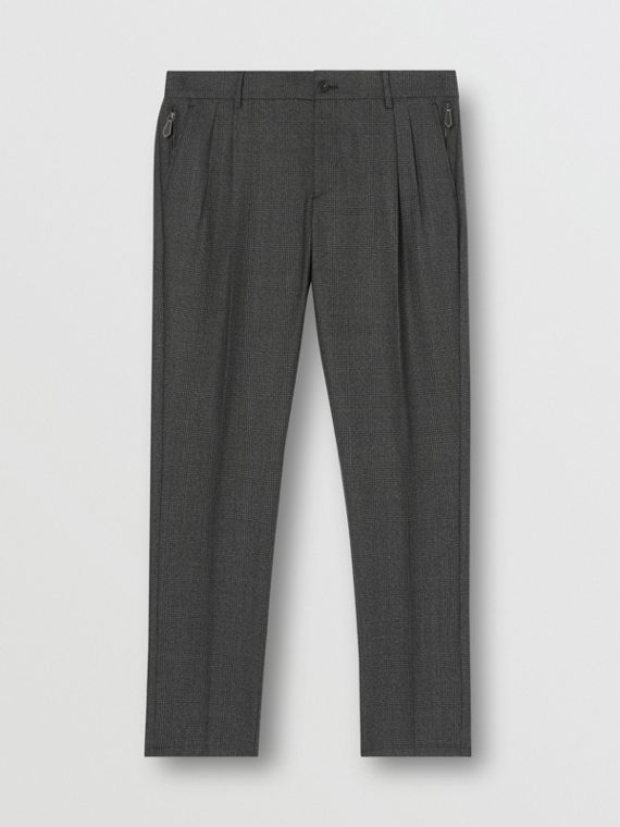 Prince of Wales Check Wool Chinos in Dark Grey Melange