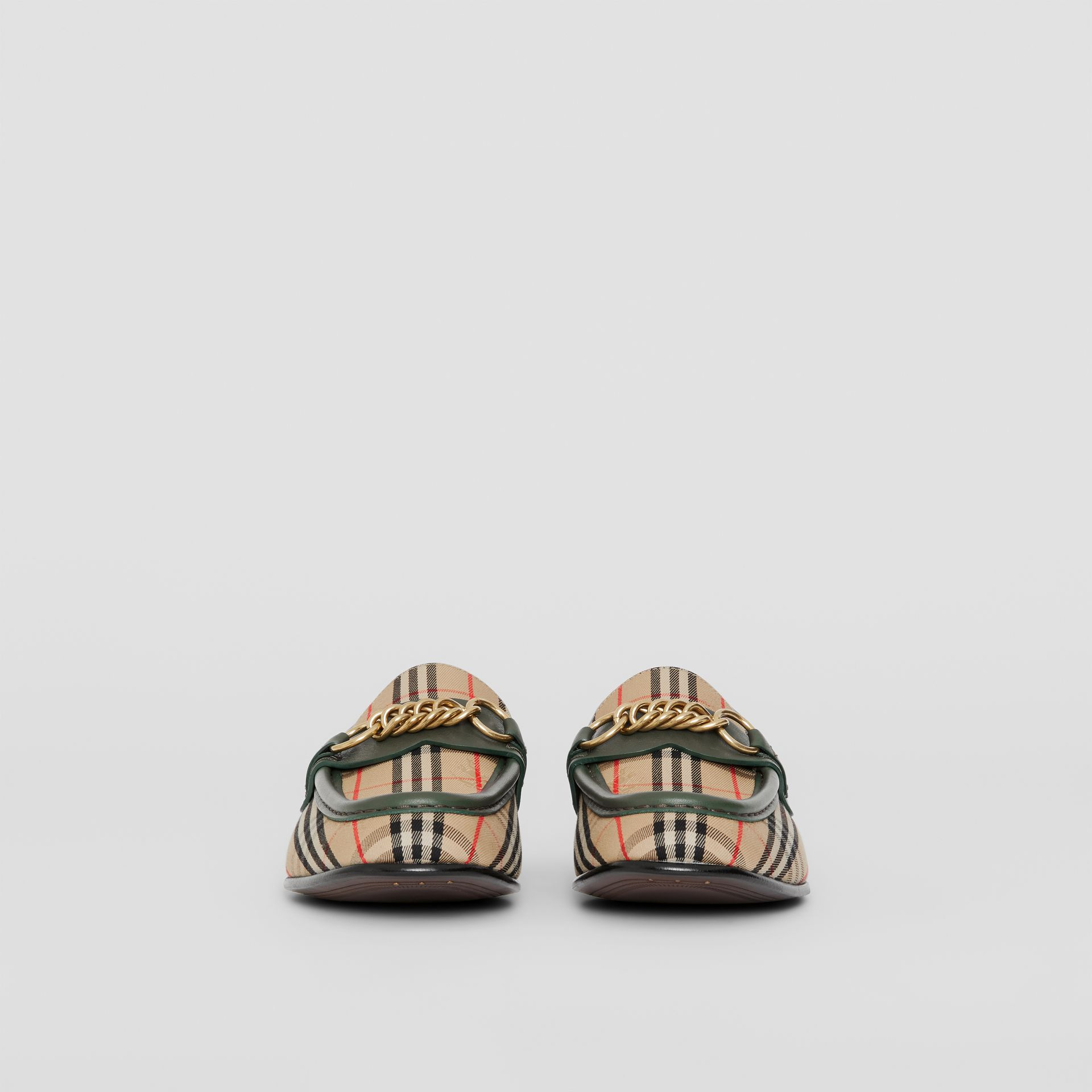 Mocassins The Link à motif check de 1983 (Vert Forêt Sombre) - Femme | Burberry - photo de la galerie 2